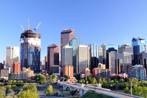 Calgary downtown skyline during The Bow tower construction, shot looking south over the Centre Street Bridge